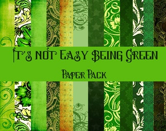 It's Not Easy Being Green Digital Paper Pack