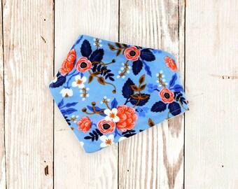 "Dog Bandana ""Periwinkle Fleur"" - snap-on dog bandana, dog bandana with snaps, flowery dog bandana, pet accessories, floral dog bandana"