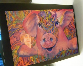greeting card print of original art-pig Zentangle spirit animal