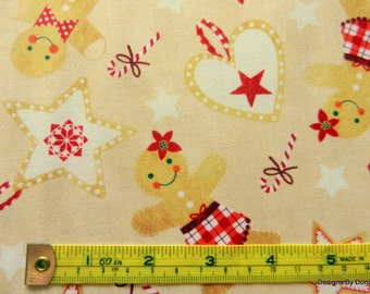 One Yard Cut Quilt Fabric, Christmas, Gingerbread Men, Trees, Stars, Hearts Candy Canes, Timeless Treasures, Sewing-Quilting-Craft Supplies