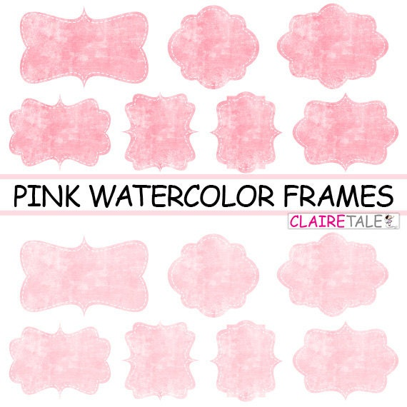 """Pink clipart labels: """"PINK WATERCOLOR FRAMES"""" pink clipart frames, labels, tags on water-colour pink background"""