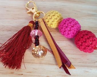 Keyring or bag charm - various colors - handmade