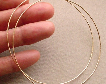 """EXTRA LARGE Gold Hoops, 3"""" Gold Filled Hoop Earrings, Extra Large Hoops, 3 Inch Hoops, Thin Light Weight Hoops, 14kt Gold Filled Hoops"""