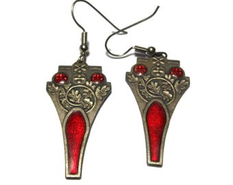 FREE SHIPPING Red stain glass earrings, window look, pewter raised leaves, red enamel over design, religious icon, goth french hoops