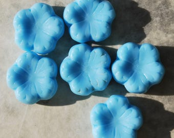Czech Glass Baby Blue Puffy Flower Beads (6)