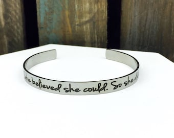 She believed she could, so she did stainless steel cuff, nevertheless she persisted, resist, strong women, courage, smart, jewelry