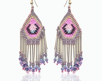 Ethnic beaded earrings pink and silver