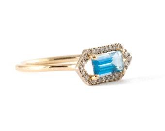 Free Shipping, Aquamarine Gold Ring, 14K Gold Ring, Pave' Diamond Halo Ring, Engagement Ring.