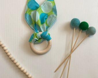 Fabric Teething Ring Green/blue Circles