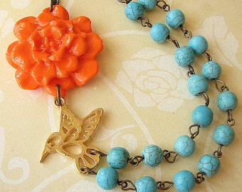 Turquoise Jewelry Statement Necklace Flower Necklace Bird Necklace Beaded Necklace Orange Necklace