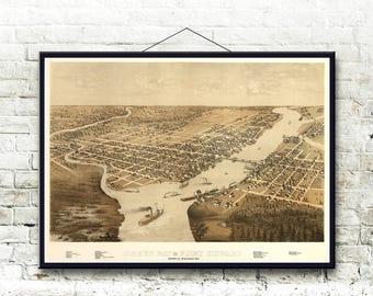 Green Bay Wisconsin 1867 Bird's Eye View Map Fine Art Print