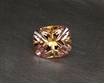 Apricot Peachy Golden Sapphire Loose Lab Created Conflict Free Handmade Precision Cut Antique Cushion Faceted Gemstone