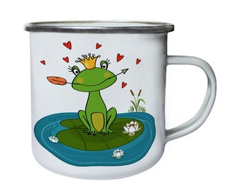 frog princess Retro,Tin, Enamel 10oz Mug v693e