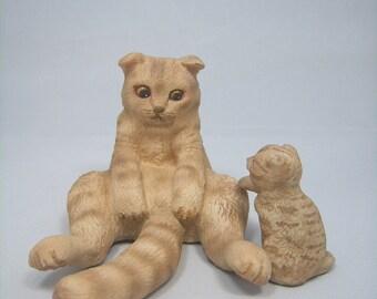Scottish Fold catfigurine(adult cat + kitten)
