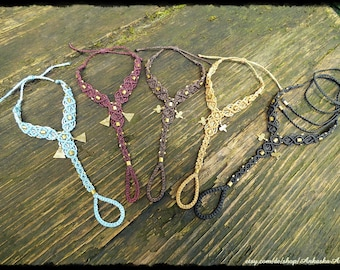 Macrame ring bracelet / barefoot sandals 2 one with brass pendant and brass beads
