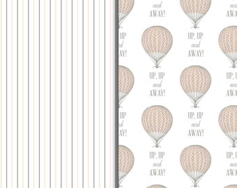 Blush and Gray Stripes and Hot Air Balloon Pattern Sheets