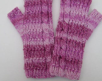 Hand Knit Pink Fingerless Gloves. Striped Mittens. Comfy Hand Warmers. Texting Gloves.