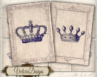 Crowns ATC vintage images digital background instant download printable collage sheet VD0133