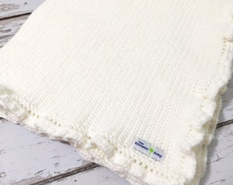 Baby Blanket White Crocheted/Baby Shower Gift/Heirloom Gift For Baby