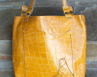 Mustard Yellow Yellow Artist Tote, Handmade with upcycled pocket lining