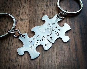 Hand Stamped Personalized Couple Puzzle Piece Keychains - Anniversary Gift - Boyfriend Keychain - Boyfriend Gift - Husband Gift