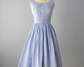 1950s Day Dress...Sweet Vintage Tiny Blue and White Check Day Dress 27 Inch Waist