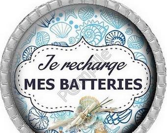 Cabochon pendant - I refill my batteries (590)