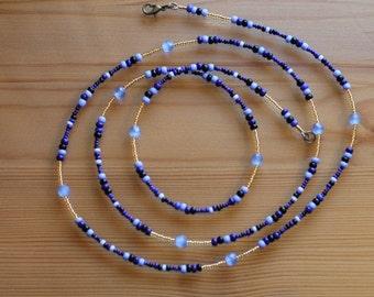 Bajan Bombshell - Blue & Gold Waistbeads, High Quality Beading Wire