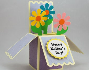 Mother's Day Pop-Up Card, Pop Up Mother's Day Card, Mother's Day Box Card, Mother's Day Flower Card, Unique Mother's Day Card, Pop-up Card