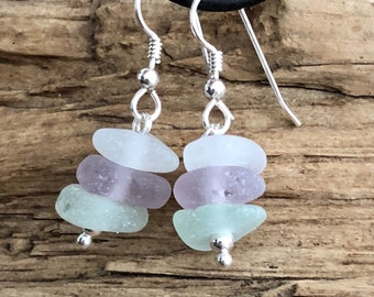 Sea glass jewelry- Purple, Sea foam green and White Sea glass earrings