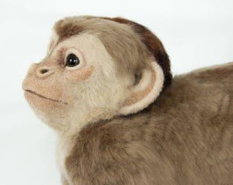 Made to Order Life-Sized Needle Felted Capuchin Monkey: Custom needle felted animal sculpture