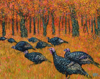 Wild Turkeys In Autumn at John Greenleaf Whittier Birthplace Acrylic Painting by Mark Reusch