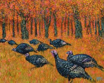Wild Turkeys In Autumn at John Greenleaf Whittier Birthplace Acrylic Painting by Mark Reusch