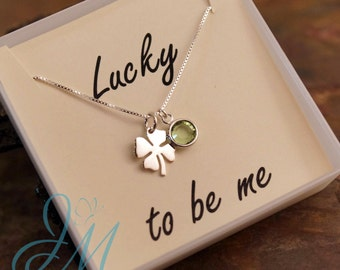 Lucky Charm Necklace - Lucky to be me - Affirmation Necklace with Birthstone - Four Leaf Clover