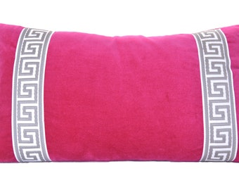 Pink Pillow Cover - Fuchsia Pink Velvet Lumbar Pillow Cover with Greek Key Trim