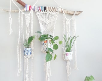 3 Plant Macrame Hanging Planter- Rustic Wall Accent- Bohemian Decor- Room Decor~ Modern Macrame- White Wall Accent- BohoChic Home Decor