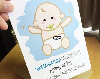Funny Baby Congratulations Card. New Baby Congrats Card. Baby Congratulation Card. Baby Shower Card.
