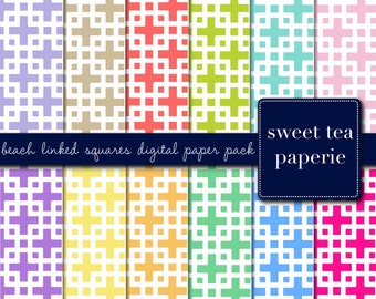 Palm Beach Linked Squares Digital Paper Pack (Instant Download) linked square, palm beach