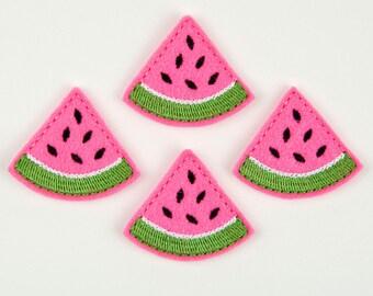 WATERMELON - Embroidered Felt Embellishments / Appliques - Hot Pink  (Qnty of 4) SCF7062