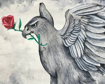 Original Watercolor Painting | Red Through the Gray | Hawk | Rose | Color Pop | Black and White | Flower | Bird of Prey | Art | Painting