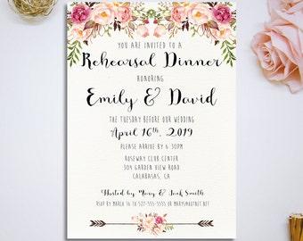 Printable Wedding Rehearsal Dinner Invitation Rustic