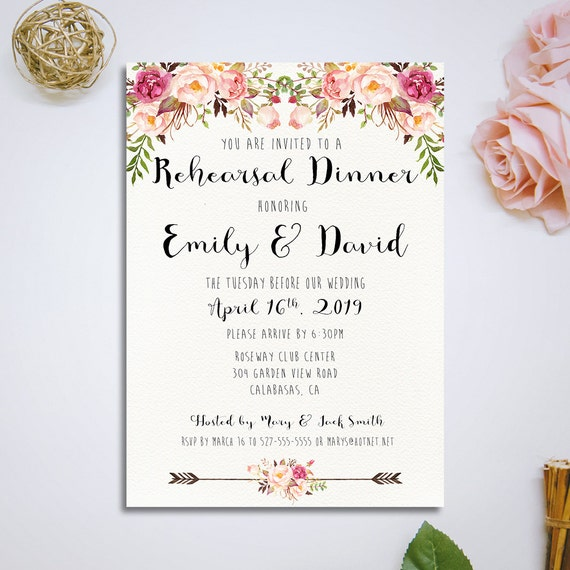Printable Rehearsal Dinner Invitation Wedding Rehearsal