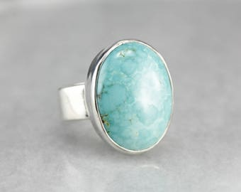 Turquoise Sterling Silver Statement Ring X99PZTEA-D