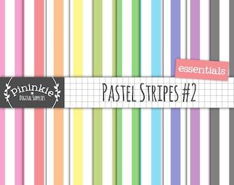 Pastel Stripe Scrapbook Paper, Pastel Digital Paper, Stripe Digital Background