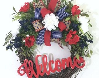 4th of July Wreath, Labor Day Wreaths, Memorial Day Wreath, Americana Wreath, Fourth of July Wreath, Patriotic Front Door Decor,