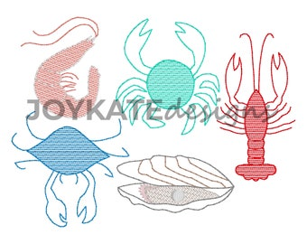 Build Your Own Shellfish Embroidery Design. Includes oyster, crawfish, shrimp, and two crabs.
