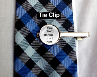 Custom Photo Tie Clip, Silver Tie Clip, Personalized Tie Bar, Gift for Dad, Father's Day