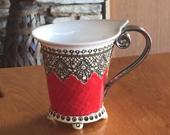 Ceramic Cup, Tea Cup,Handbuilding Techniques, Ceramics and pottery , Handmade cup, Coffee cup, Red cup,