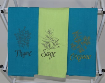 Herbs on Dish Towels, Dish Towels with Herbs, Rosemary Dish Towel, Sage Dish Towel, Herbs Decorations, Kitchen Dish Towels, Herb Fabric