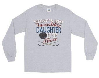 Hockey Mom Long Sleeve Shirt-Hockey Dad Shirt-Hockey Daughter Shirt-Hockey Mom Gift-Hockey Dad Gift-Hockey Mom Shirts-Hockey Parents Shirt